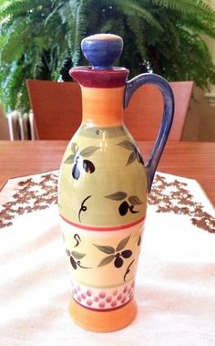 Pfaltzgraff Pistoulet Tall Oil Bottle Carafe w/Top and Pouring Spout #Pfaltzgraff