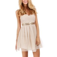 Hailey Logan Lizbeth-Tan/Nude Homecoming Dress (3,985 INR) ❤ liked on Polyvore featuring dresses, vestidos, tan, sequin dress, tan cocktail dress, homecoming dresses, special occasion dresses and pink cocktail dress