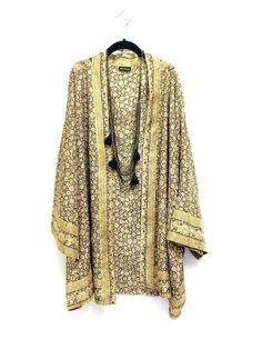 Silk Kimono jacket oversized / cocoon cover up khaki and beige