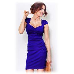 Dámské společenské šaty s balónovým rukávkem modré
