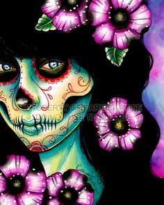 Day of the Dead Sugar Skull girl portrait with by NeverDieArt, $7.00