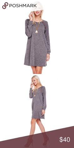 Charcoal LongSleeve Sweater Dress Button Accent NEW! Charcoal LongSleeve Sweater Dress with Button Accents. Fabric 82% Polyester 15% Rayon 3% Spandex. Price is Firm Unless Bundled. No Trades. 2 Items 10% Off 3 Items 15% Off. GlamVault Dresses