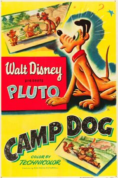 Camp Dog (1950) Pluto Disney cartoon movie short poster