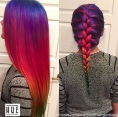 Rainbow hair just begs to be braided! I need to dye my hair rainbow one day! Funky Hairstyles, Pretty Hairstyles, Rainbow Hairstyles, Braid Hairstyles, Updo Hairstyle, Medium Hairstyles, Wedding Hairstyles, Dye My Hair, New Hair