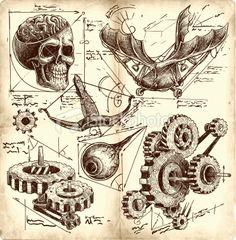 antique engineering drawings in Leonardo da Vinci style Leonard De Vinci Inventions, Da Vinci Inventions, Steampunk Drawing, Steampunk Kunst, Steampunk Diy, Steampunk Illustration, Illustration Art, Leonardo Da Vinci Zeichnungen, Drawing Sketches