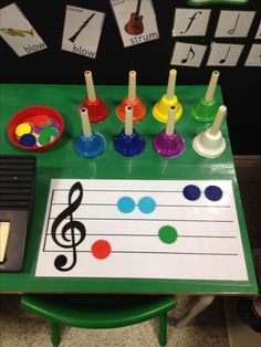 Eyfs music area - handbells activity idea --- could do with tone bells or boomwhackers as well! Eyfs Classroom, Music Classroom, Music Teachers, Piano Lessons, Music Lessons, Eyfs Activities, Movement Activities, Preschool Music Activities, Music And Movement