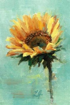 "Daily Paintworks - ""Sunflower framed see description below"" - Original Fine Art for Sale - © Linda Jacobus"