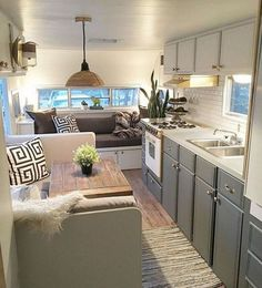 22 Best RV Interior Renovation for a Happy Trip Camper Life, Rv Campers, Camper Trailers, Happy Campers, Travel Trailers, Home Trailer, Travel Trailer Decor, Small Campers, Caravan Makeover