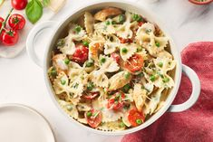 No need to boil or drain the pasta in this dish. Just stir the uncooked pasta right into your saucy chicken mixture and simmer away. The pasta is extra delicious from absorbing all of the fabulous flavours. Basil Recipes, Pea Recipes, Cooking Recipes, Cooking Food, Yummy Recipes, Chicken Penne Recipes, Chicken Bacon, Chicken Meals, Garlic Chicken