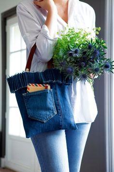 Un sac en jean récupéré //jean, upcycling, handbag, denim, blue, accessories
