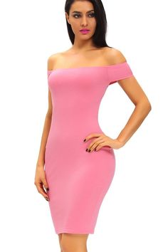 Robe Moulante Rose Manches Courtes Croise Dos Epaules Denudees f79fa3110
