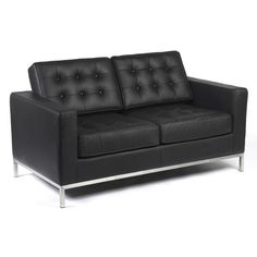 Two Seater Knoll Style Black Leather Sofa