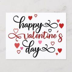 Happy Valentine S Day Postcard Zazzle Com Happy Valentines Calligraphy Happy Valentine Happy Valentines Day Calligraphy