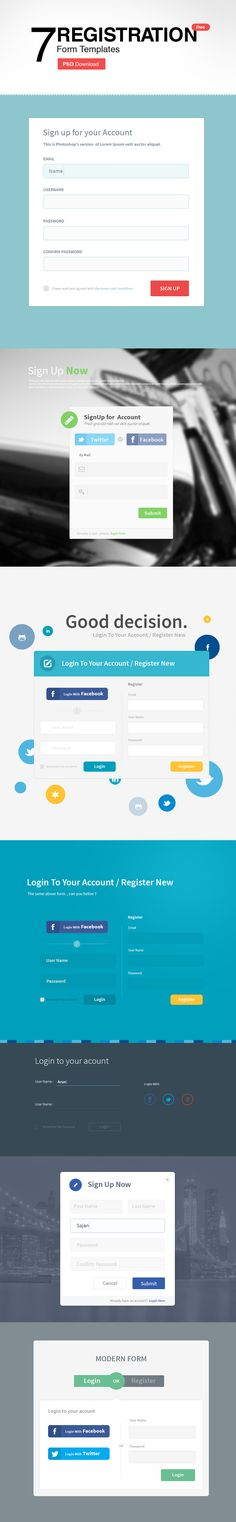 7 Registration Form Templates PSD - Freebie No: 108