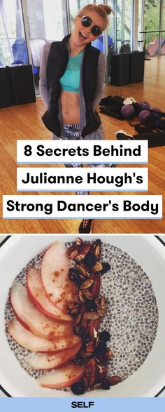 Julianne Hough loves to work out and eat healthy! Here's a look at Julianne's exercise and diet routine to keep her strong, active, and feeling fabulous! She enjoys a delicious chia seed pudding for breakfast and does a variety of workout classes like CorePower Yoga, SoulCycle, and Body By Simone.