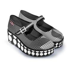 032c739fbd7 Chocolaticas® Op Art Women s Mary Jane Platform Wide Fit Shoes