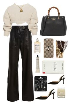 """""""how bout now"""" by millicent4 ❤ liked on Polyvore featuring Yves Salomon, Manolo Blahnik, Maison Margiela, Le Labo, Grown Alchemist, Gucci and Topshop"""