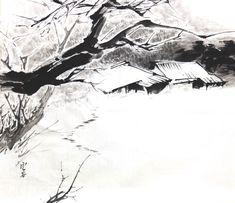 이미지 사이즈 : 750 x 648    클릭하면 닫혀요. Ink Paintings, Tinta China, Gesture Drawing, India Ink, Winter Landscape, Chinese Painting, Asian Art, Painting & Drawing, Oriental