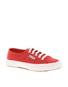 Cute red & white polka dotted Superga 2750 Fantasy Trainers. Just discovered Superga and am ordering this!