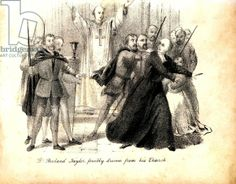 Rowland Taylor (1510-1555), English Protestant martyr, forcibly ejected from his church. Burned in the reign of Mary I for heresy, namely for denouncing the rule of celibacy for Roman Catholic clergy, and for denouncing the doctrine of Transubstatiation.