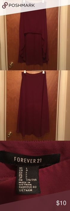Maroon high low skirt Worn one time. Great condition! Maroon high low skirt with lining. Size L, but it fits a M. Forever 21 Skirts High Low