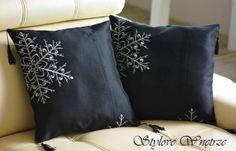 Dekoracyjne Czarne Poszewki Płatki Śniegu