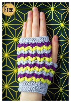 Puff Stitch Fingerless Gloves Free Crochet Pattern