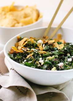 Hearty kale taco salad with feta, black beans, pepitas, avocado and ...