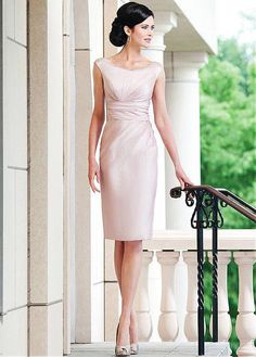 Buy discount Modest Satin Scoop Neckline Sheath Mother of the Bride Dresses With Rhinestones at Magbridal.com