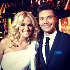 Carrie Underwood with Ryan Seacrest Beautiful Voice, Beautiful Person, Country Singers, Country Music, Miley Cyrus, Carrie Underwood American Idol, Ryan Seacrest, One Shoulder Gown, Chris Young