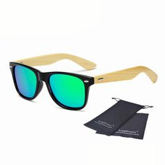 51904464e23 Long Keeper Polarized Bamboo Sunglasses with Mirrored Lenses