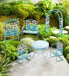Miniature Fairy Garden Retro Metal Furniture Set   Miniature Fairy Gardens