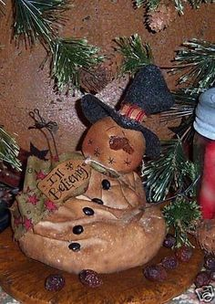 Primitive Melting Frosty Snowman Ornie Doll by pattisratties