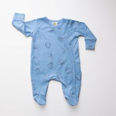 Summer blue woodland sleepsuit side fastening with integrated mitts #firstoutfit #babygifts #madeinbritain🇬🇧