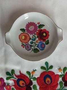Hungarian Kalocsa Porcelain Ashtray Hand Painted 18Kt. gold accent