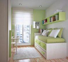 Habitación juvenil verde con estor de varillas. |  Green room with roman blind