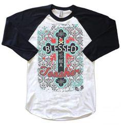 Teacher's Gift, Blessed To Be A Teacher Cute Women's T-Shirt for Teachers on Etsy, $32.95