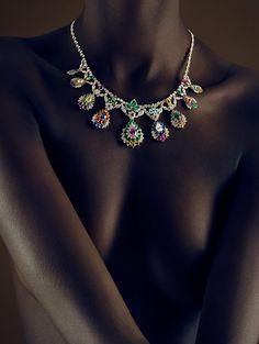 Statement Jewels, Clothing Optional - Dior Fine Jewelry gold, ruby, sapphire, garnet, tourmaline, emerald, and diamond necklace.