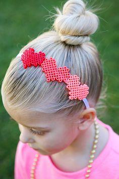 Valentine's Day Hair Accessories. Perler Bead Heart Headband. So sweet!