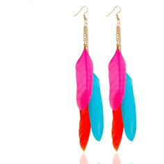 Trendy Tassel Earrings Colorful Feather Long Earrings (6.90 CAD) ❤ liked on Polyvore featuring jewelry, earrings, white, multi colored earrings, long feather earrings, multicolor jewelry, feather dangle earrings and colorful jewelry