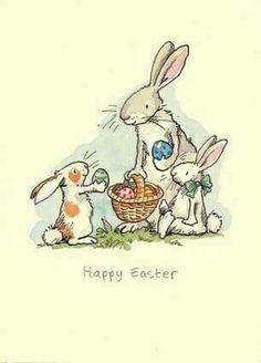 Happy Easter, by Anita Jeram Easter Art, Hoppy Easter, Easter Crafts, Easter Bunny, Easter Eggs, Easter Illustration, Children's Book Illustration, Anita Jeram, Easter Parade