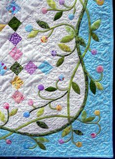 Close up, Easter Basket quilt at Quilt2sr5