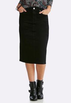 a6f8d94dd0 Plus Size Black Denim Skirt Skirts Cato Fashions