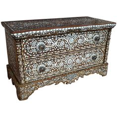 Wonderful 19th Century Syrian Mother of Pearl Dresser Cabinet | From a unique collection of antique and modern dressers at https://www.1stdibs.com/furniture/storage-case-pieces/dressers/