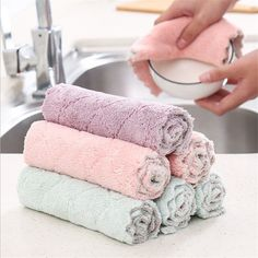 1PC Microfiber Dishcloth Kitchen Washing Cleaning Towel Dish Cloth Rags Wipe