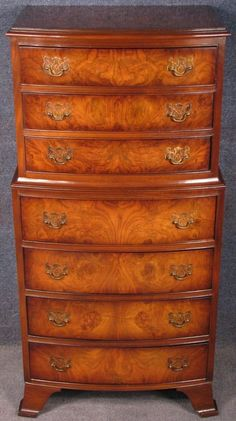 1950s Cameo Furniture Burr Walnut Bow Front 7 Drawer Chest On Chest #Cameo