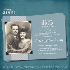 vintage 65th anniversary invatations   Blue & Silver. 65th Wedding Anniversary Invitation