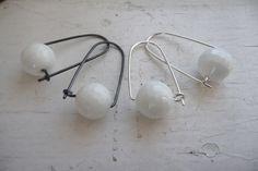 white agate box earrings by k.o'brien jewelry