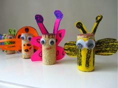 I is for Insect--cork bug craft/toilet paper roll works too