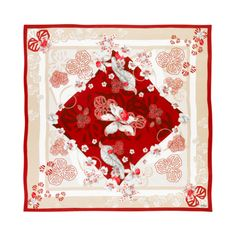 Cartier red satin silk scarf, orchid petals motif